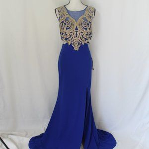 City Studio Blue and Gold Cutout Formal Dress NWT